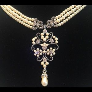 Vintage Triple Strand Faux Pearl Necklace